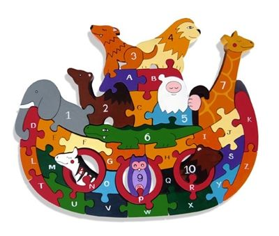 Noah's Ark Alphanumeric Wooden Jigsaw  A stunningly crafted Wooden Jigsaw from Alphabet Jigsaws. Designed, made and hand-painted in Ireland this Noah's Ark jigsaw has 36 pieces brightly coloured pieces from A to Z and 1 to 10. It is securely packaged in a 100% recyclable cardboard box and includes a natural cotton drawstring bag for easy tidy up and storage.