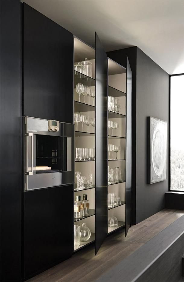 love the side cabinets and glass in the middle for the north kitchen wall - Kitchen Wall Units Designs