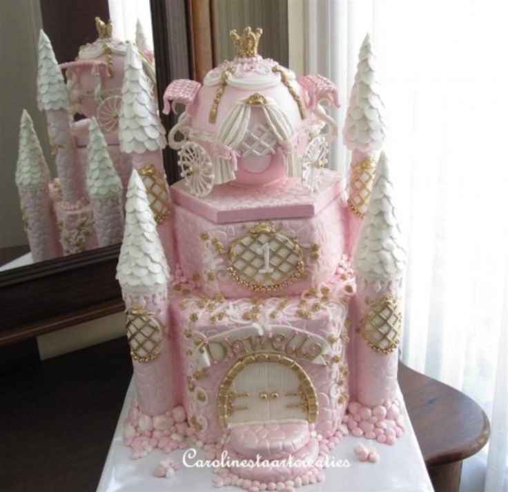 Pink castle with Cinderella's coach