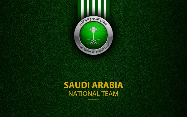 Download wallpapers Saudi Arabia football national team, 4K, leather texture, emblem, logo, The Falcons, Asia, football, Saudi Arabia