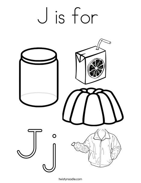 J Is For Coloring Page From TwistyNoodle Preschool LettersPreschool