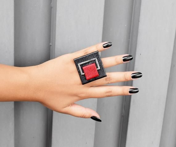 Minimalist ring Contemprary ring Leather ring Statement ring adjustable ring, Square ring Geometric leather black and orange ring