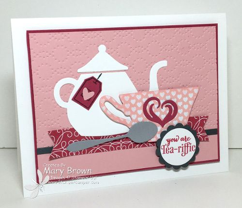by Mary  A Nice Cuppa  Love Blossoms dsp  Elegant Dots embossing folder  Cups  amp  Kettles framelits   all from Stampin  39  Up