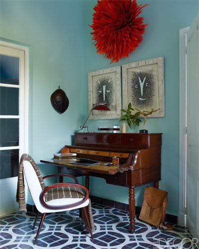 Beautiful Moroccan study in shades of blue and white | elledecor.com: Elle Decor, Color, Desks, Home Decor, Fleas Marketing, Home Design, Art Deco, Cement Tile, Home Offices