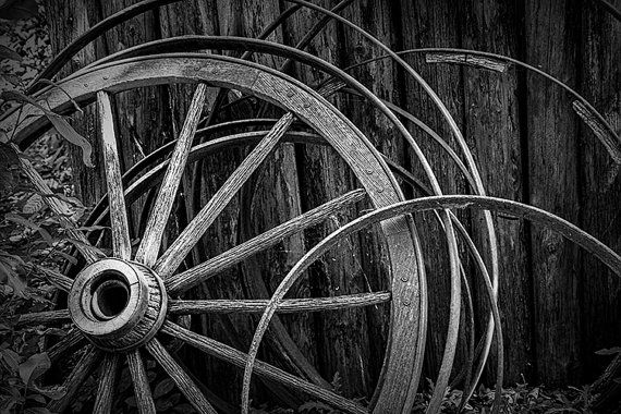 Black & White Photo of Wooden Wagon Wheels at Fort Edmonton in Alberta Canada No.BW3951 - A Pioneer Farm Landscape Photograph