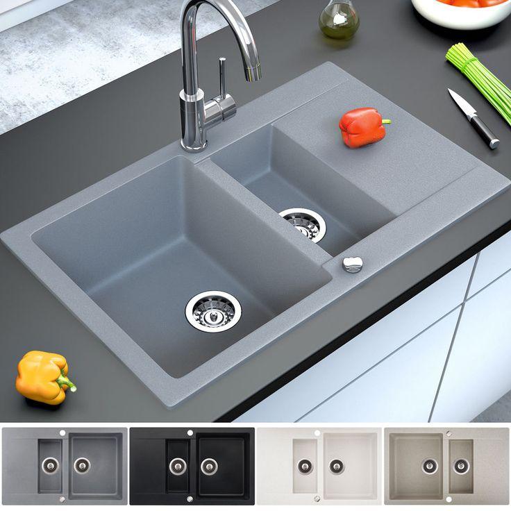 Granit Spüle Küchenspüle Einbauspüle Doppelspüle Spülbecken Drehexcenter Siphon in Heimwerker, Bad & Küche, Spülen | eBay!