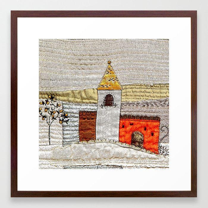 Castle in neutrals and orange Framed Art Print