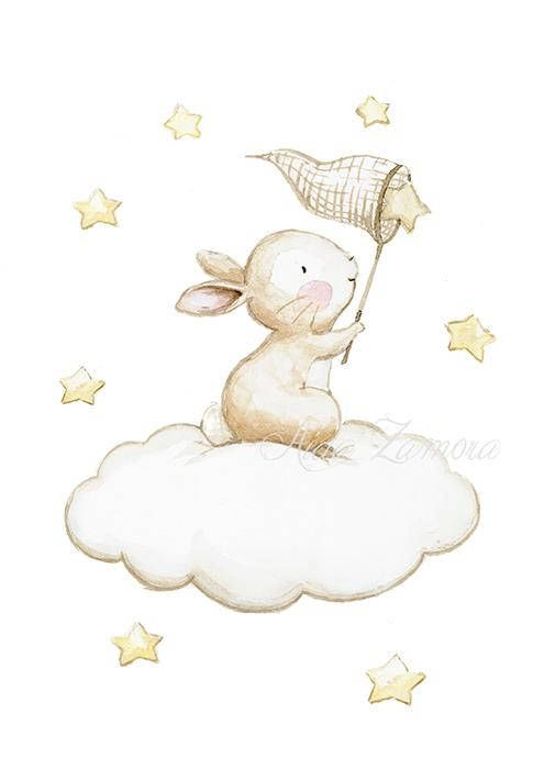 "Nursery Art ""BUNNY FISHING STARS"" neutral nursery wall art, bunny wall art, bunny nursery print, watercolor bunny art, Aida Zamora"