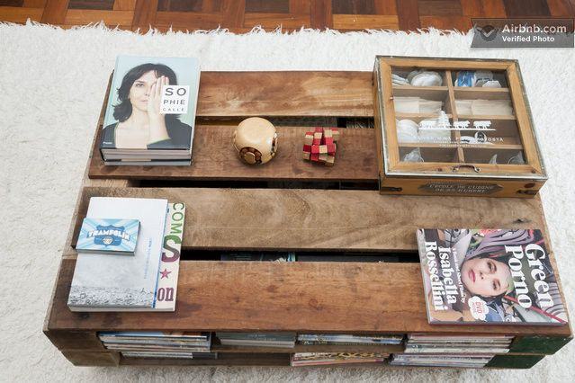 Shipping crate coffee-table in a Rio de Janeiro flat.