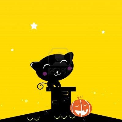 Black Cat sitting on the roof during Halloween. Vector Illustration.
