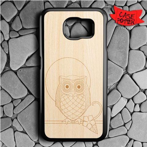Owl Wood Texture Samsung Galaxy S6 Black Case