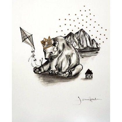 Le grand roi ours By : Joannie Houle - Art et Illustration $60.00 Œuvre fait main, crayons à l'encre d'archive et crayons graphites sur papier d'illustration de qualité. Cette pièce unique est signée et authentifiée par l'artiste. (dessin, illustration, enfant, roi, animal, ours, nature, forêt, maison, cerf-volant, montagne, noir, gris, blanc)