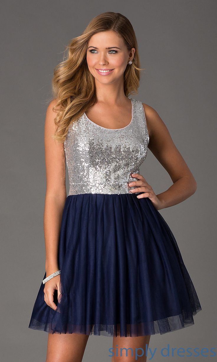 Sleeveless Sequin Navy Blue Junior Party Dresses