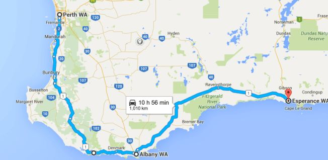 Perth -> Albany -> Esperance on our Perth to Melbourne Road Trip