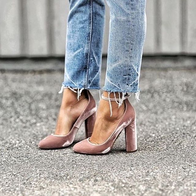 blush pink velvet + light jeans.