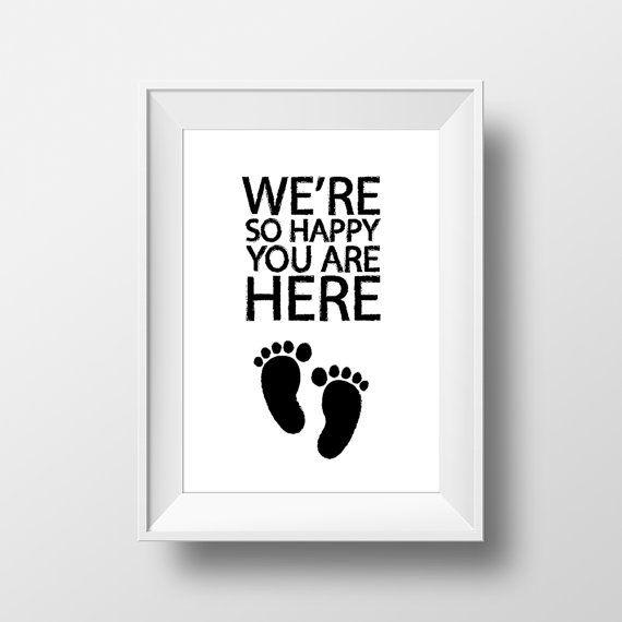 New born printable poster black and white by OrangeKiteLabs