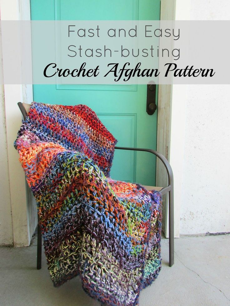Simple and beautiful stash-busting crochet blanket.  This afghan is a colorful and cozy addition to your home.