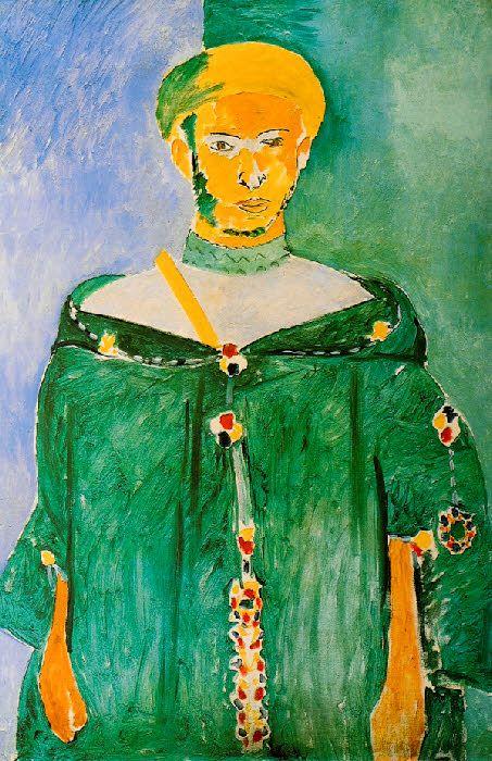 Matisse - 1912 – LE RIFAIN DEBOUT (Matisse veut exprimer le sentiment d'autorité de cet homme comme les portraits des empereurs sur les monnaies byzantines)