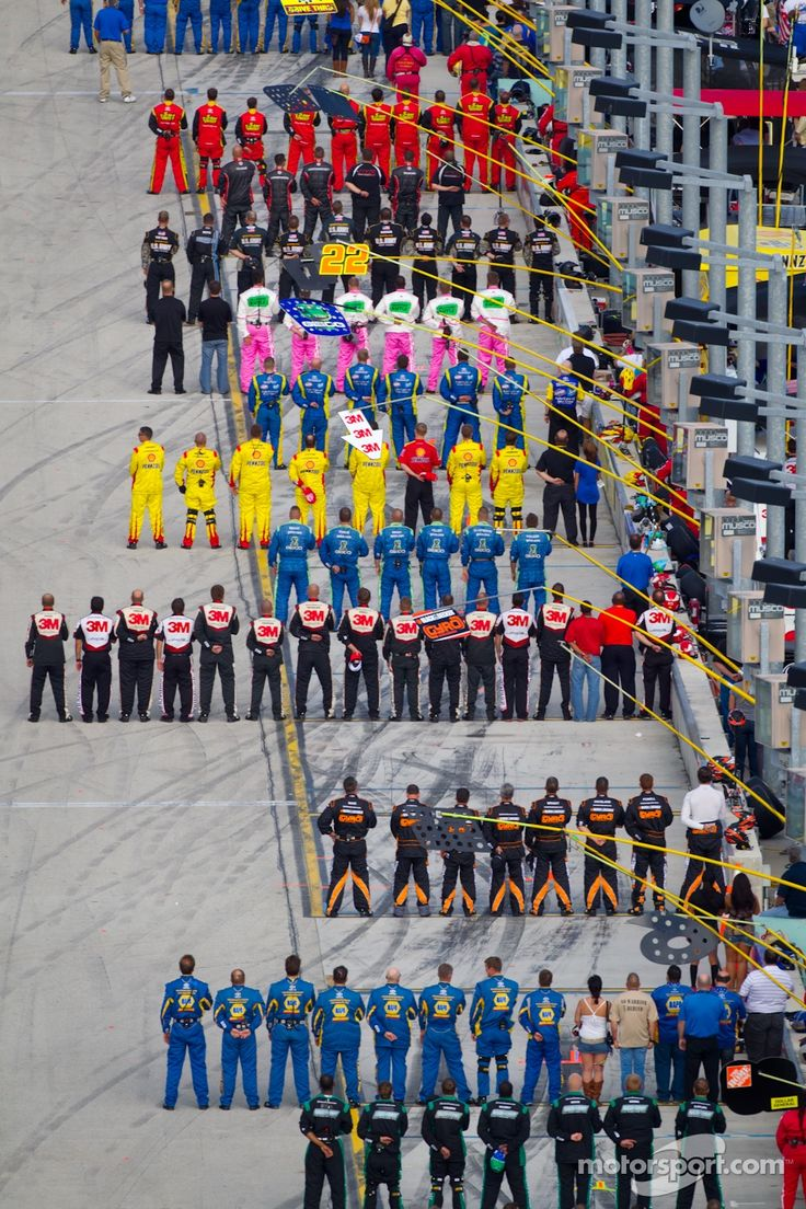 During national anthem. This an amazing sight to see from the grandstands. Just awesome!
