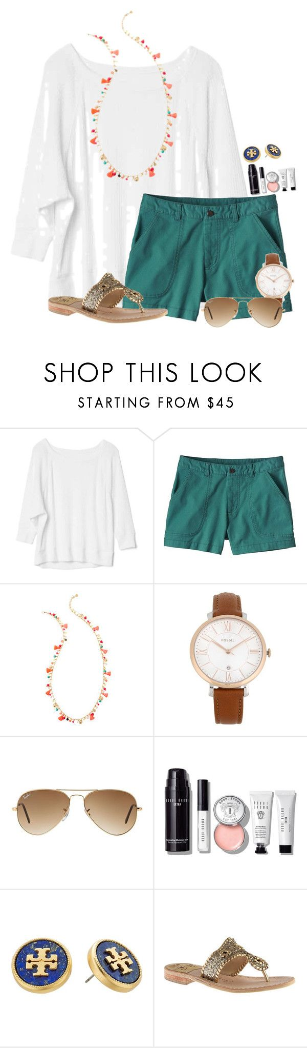 """""""Pizza party tonight """" by flroasburn ❤ liked on Polyvore featuring Gap, Patagonia, Lilly Pulitzer, FOSSIL, Ray-Ban, Bobbi Brown Cosmetics, Tory Burch and Jack Rogers"""