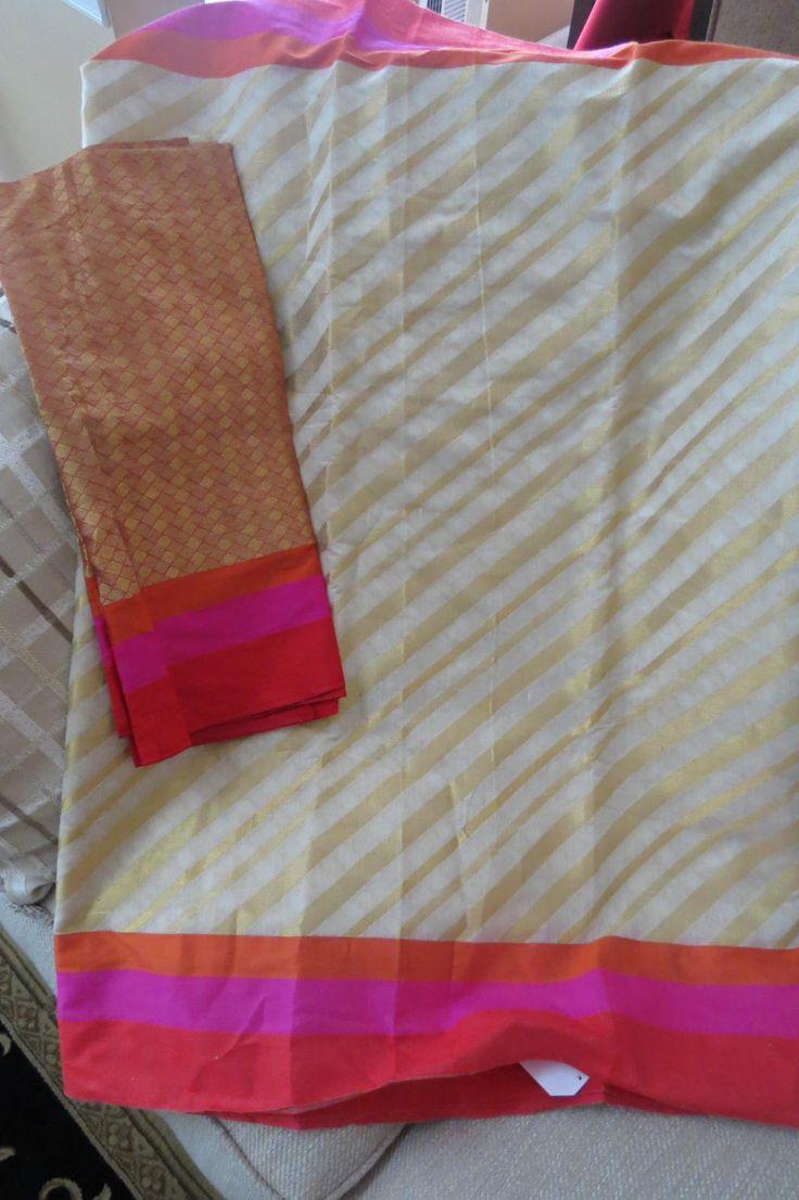 Off white Chanderi Cotton silk sari with sari weaved by ZainabBoutique on Etsy