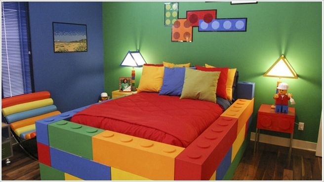 A Lego Inspired Kids Room with a Lego Bed and Nightstand; Yes Adults Are Allowed Too
