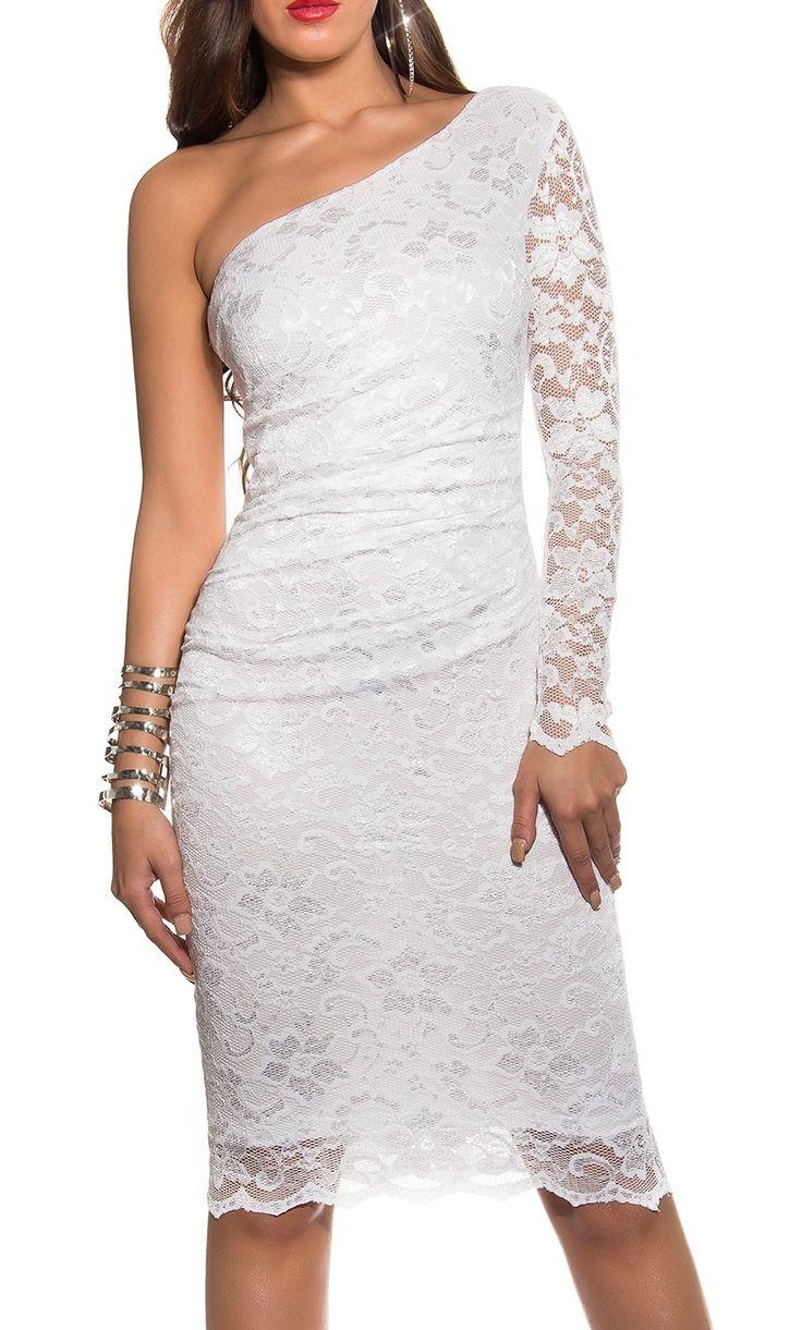Elegant lace one shoulder dres. Biała koronkowa sukienka na jedno ramię , 358-5| białe sukienki na jedno ramię 403. www.lejdi.pl