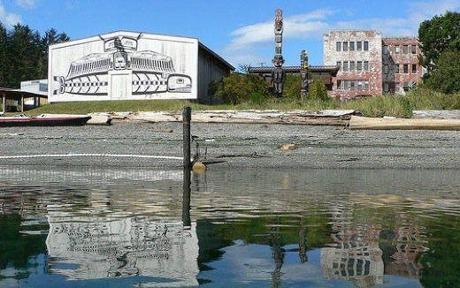 The beautiful U'mista Cultural Centre is located on the water in Alert Bay, British Columbia. #AboriginalBC http://aboriginalbc.com/members/umista-cultural-centre/