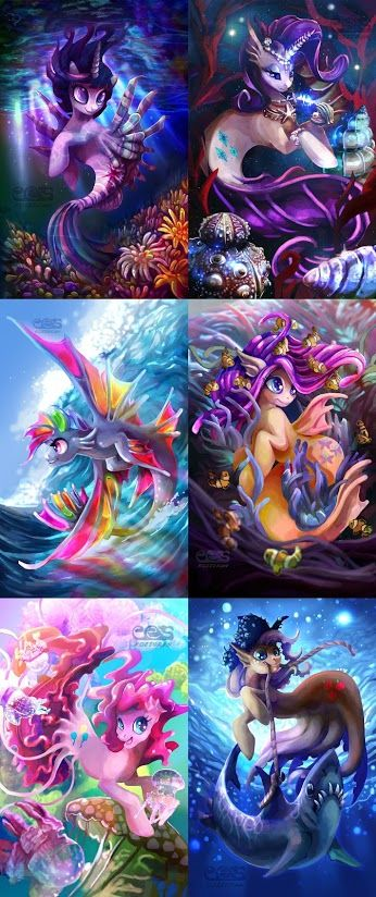 Really wish they'd bring the Sea Ponies back to the reboot!  These renditions are really cool.