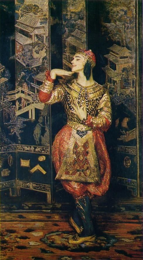 Jacques-Emile BLANCHE, Portrait de Nijinsky dans les Orientales, hst, anc. coll. de Winnaretta Singer