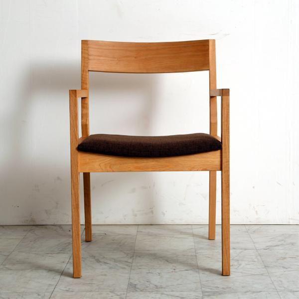 ダイニングチェア mukai 肘付き 椅子 木製 オーク アルダー 国産 日本製  (北欧 ミッドセンチュリー) カフェ