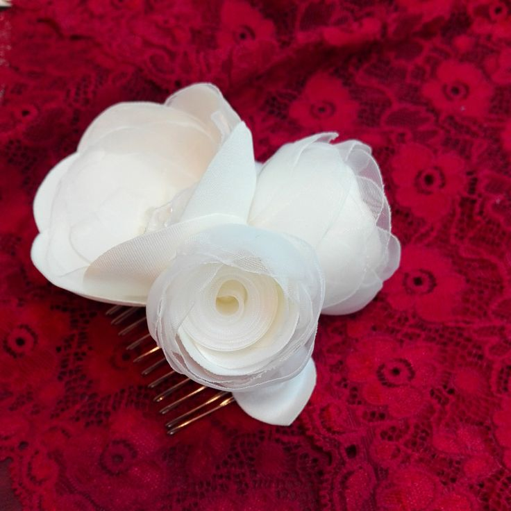 Bridal Ivory Hair Comb, Ivory Hair Flowers, Wedding Hair Ivory Flowers by AnaManoleAtelier on Etsy