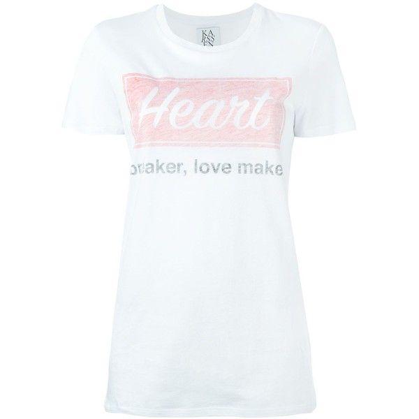 Zoe Karssen Heart Logo Long Fit T-Shirt (£42) ❤ liked on Polyvore featuring tops, t-shirts, white, long white tee, heart t shirt, white t shirt, long tops and logo t shirts