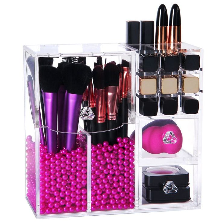 Lifewit Langforth 5mm Thick Acrylic Makeup Organizer Case with Rosy Pearl, Type2 #Lifewit