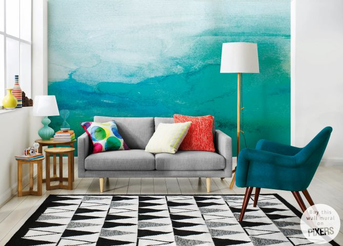 Living Room Ombre Wall Mural O Inspirations PIXERSIZE