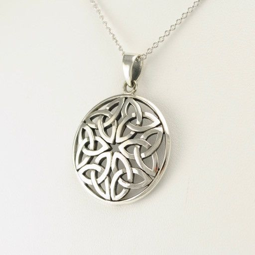 "Sterling Silver Round Celtic Knot 18"" Necklace"