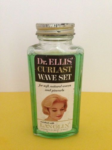 Vintage 4 1/2 ozs. Dr Ellis Curlast Wave Set Lanolin in Glass Bottle