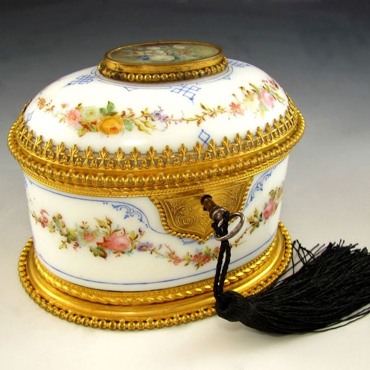 Antique French Hand Painted Opaline Glass Jewelry Casket Box from theantiqueboutique on Ruby Lane