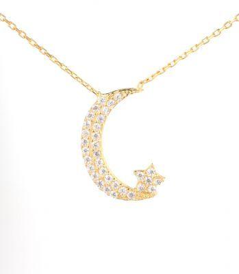 925 Ayar Gümüş Ay ve Yıldız Modeli Kolye, Sarı