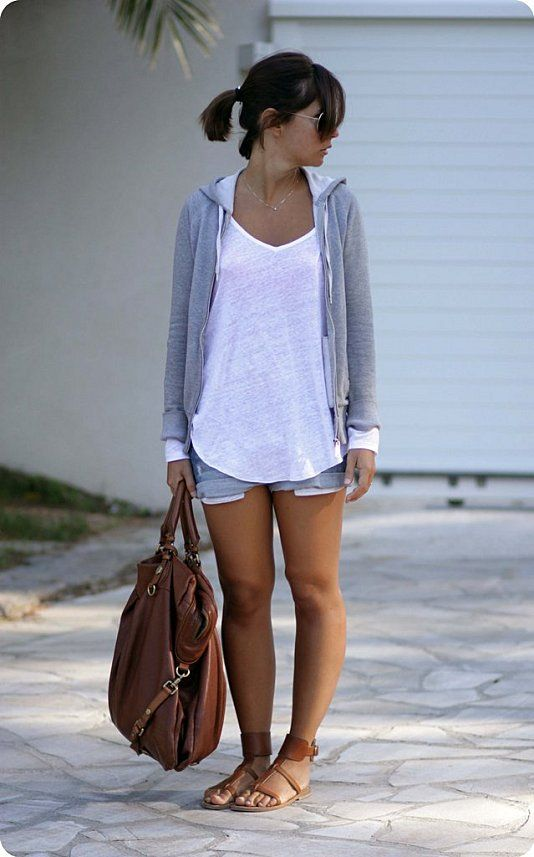 loose gray zip up hoodie, white top, jean shorts and nude sandals