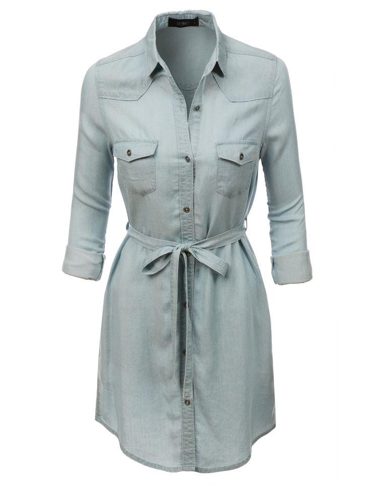 LE3NO Womens Casual Long Sleeve Button Down Denim Dress