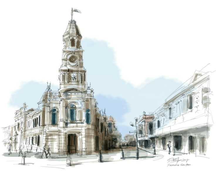 Free hand sketch of the newly restored Fremantle Town Hall, Fremantle Western Australia