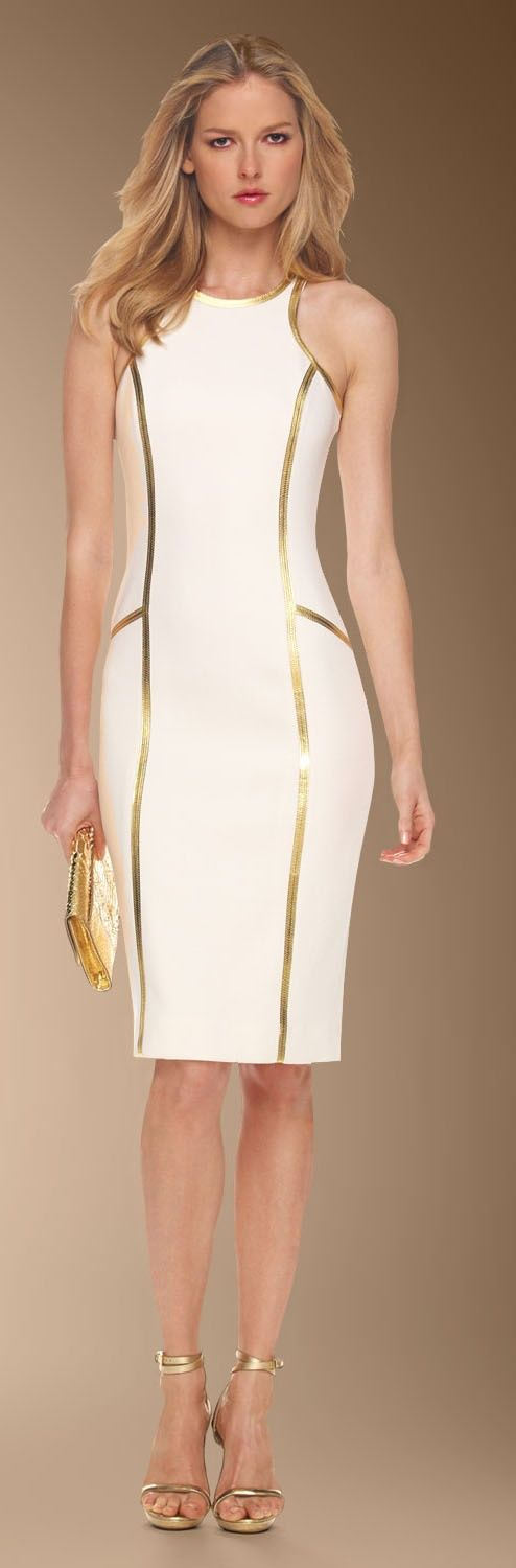 Women's fashion | White and gold Mickael Kors dress | Just a Pretty Style