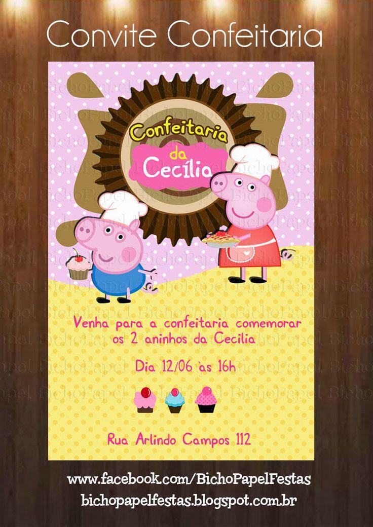 Arte Convite Peppa Confeiteira cozinheira