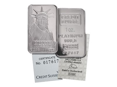 Credit Suisse 1 Ounce 999.5 Platinum Bar.Each bar comes with a matching Assay certificate that guarantees the fineness and weight of pure platinum.Physical Bullion Storage Available.