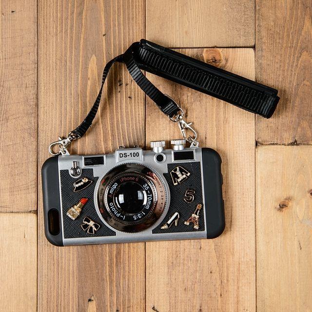 カメラ型 iPhoneケース ミニチュア チャーム ビジュー ブラック iPhone7 6s 5 5s SE Plus アイフォン (c12)