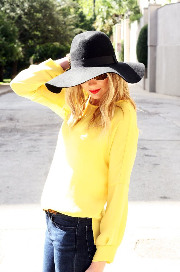 Fall Outfit yellow shirt black floppy hat