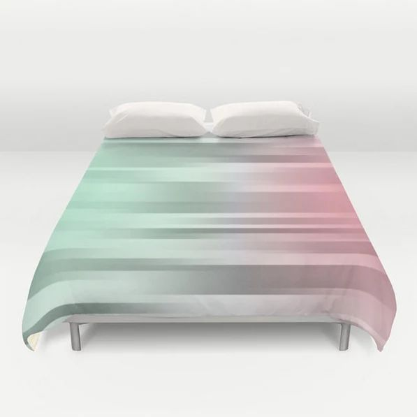 Green  Gray  Pink  Bed Cover  Duvet Cover by ShelleysCrochetOle