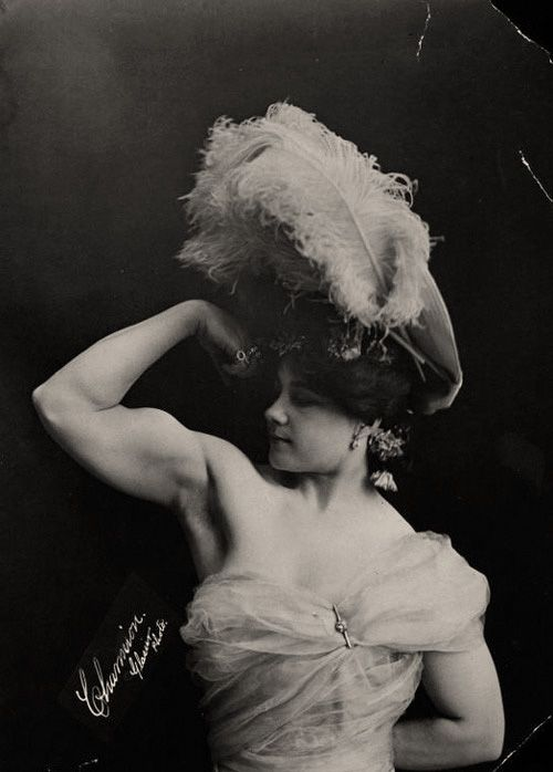 Laverie Vallee (July 18, 1875- February 6, 1949) best known by her stage name Charmion. She was a Sacramento born trapezee artist who performed a risque act for the Victorian era.