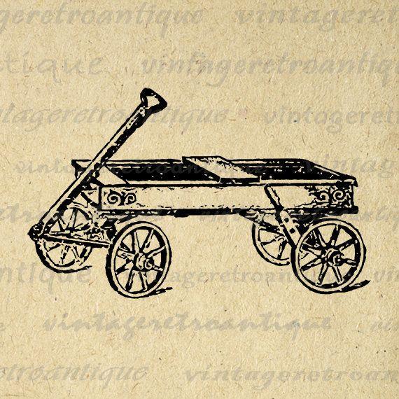 Digital Printable Toy Wagon Graphic Download Image Illustration Antique Clip Art Jpg Png Eps 18x18 HQ 300dpi No.1306 @ vintageretroantique.etsy.com #DigitalArt #Printable #Art #VintageRetroAntique #Digital #Clipart #Download